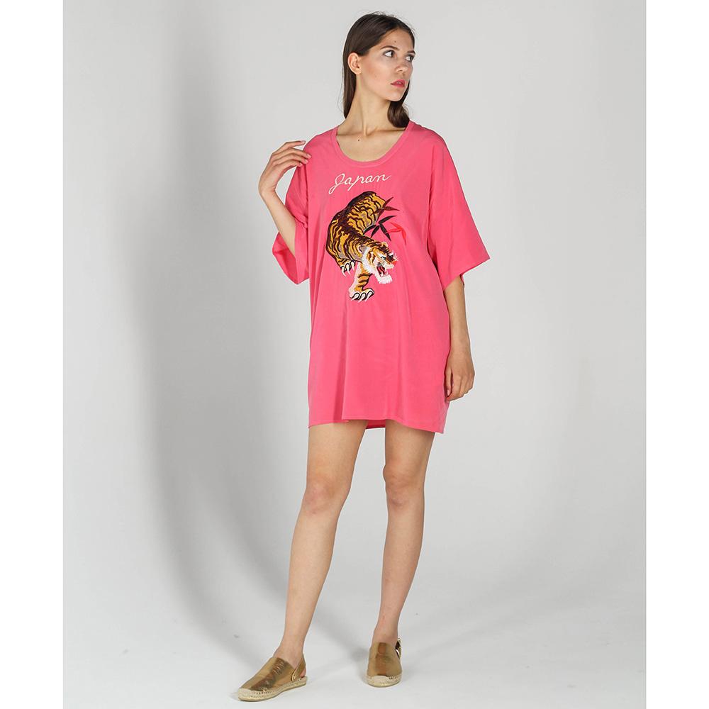 Шелковое платье-футболка P.A.R.O.S.H. цвета фуксии