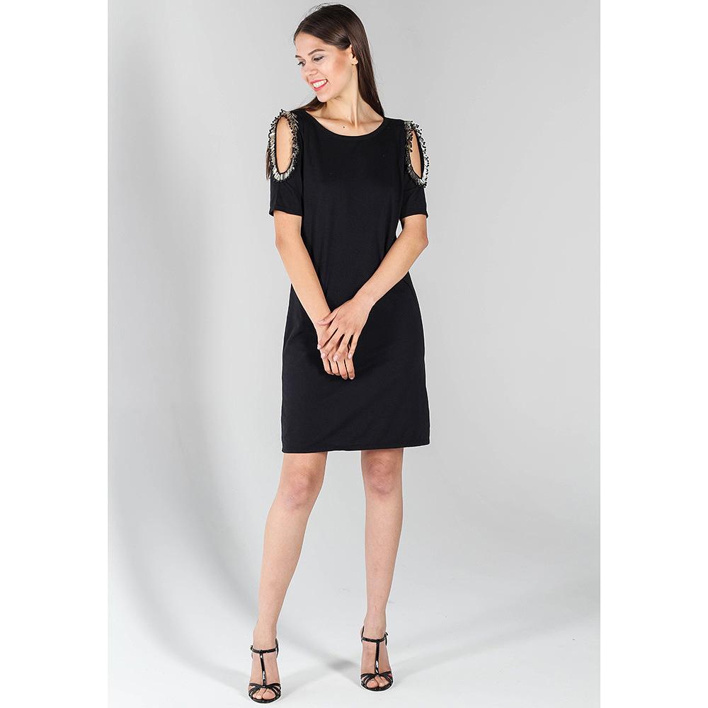 Приталенное платье P.A.R.O.S.H. черного цвета с вышивкой бусинами на рукавах