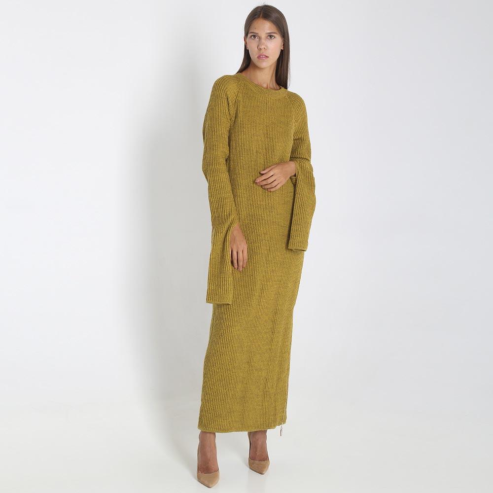 Длинное платье Woolen Bloom из трикотажа горчичного цвета