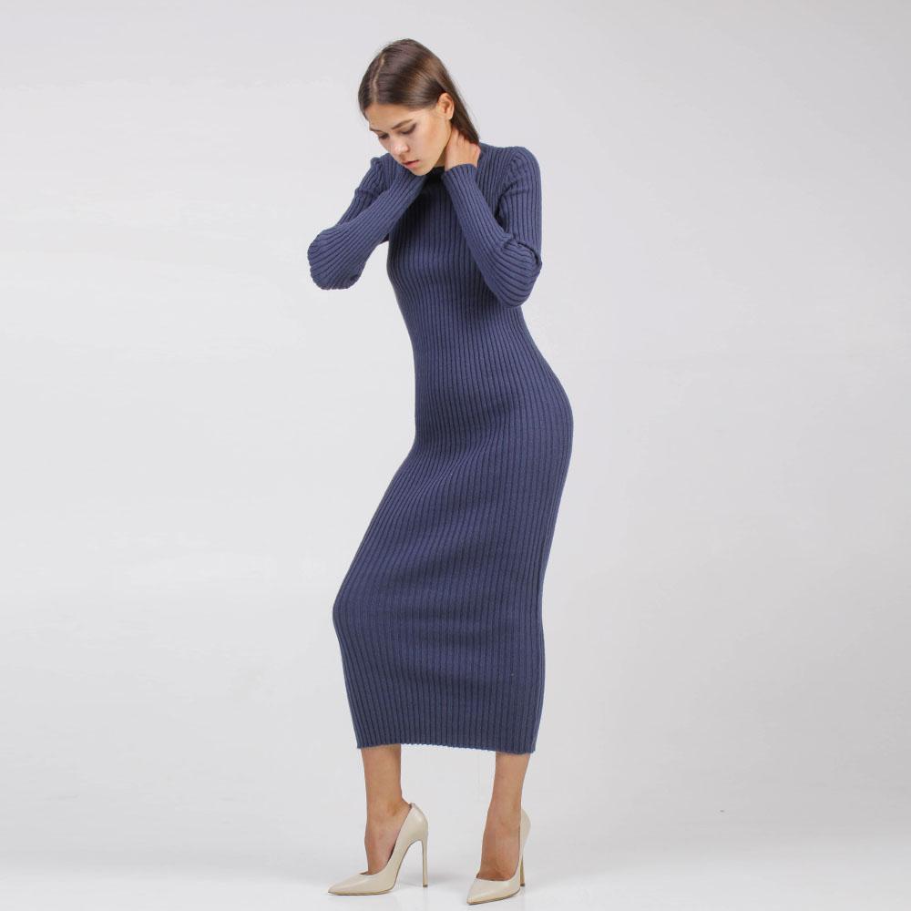 Вязаное платье-миди Woolen Bloom синего цвета