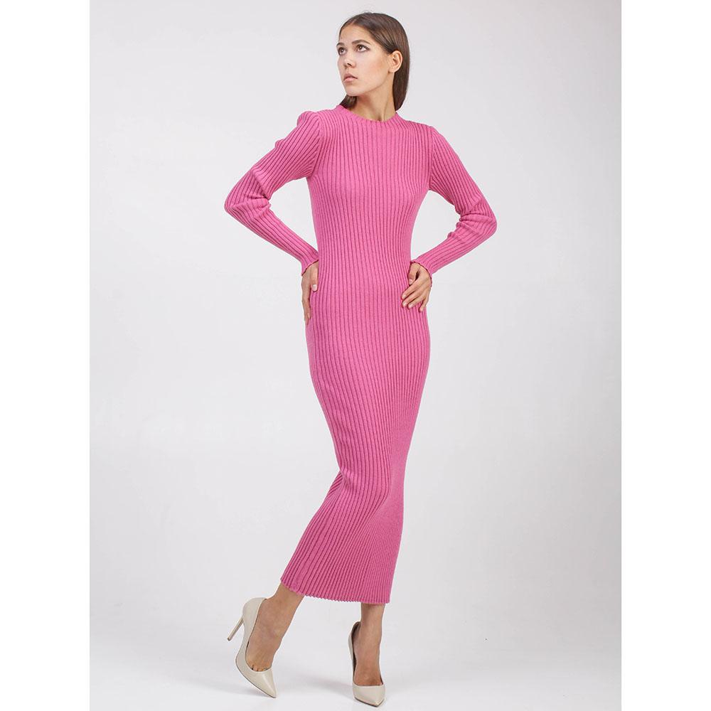 Вязаное платье-миди Woolen Bloom розовое