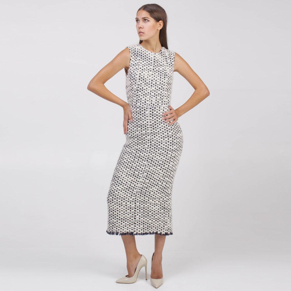 Теплое платье-миди Rochas черно-белое