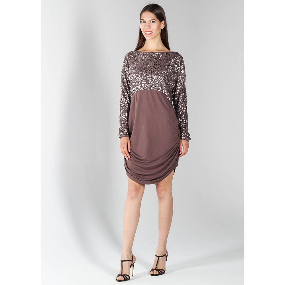 Коричневое платье Richmond Х с расшитым пайетками верхом