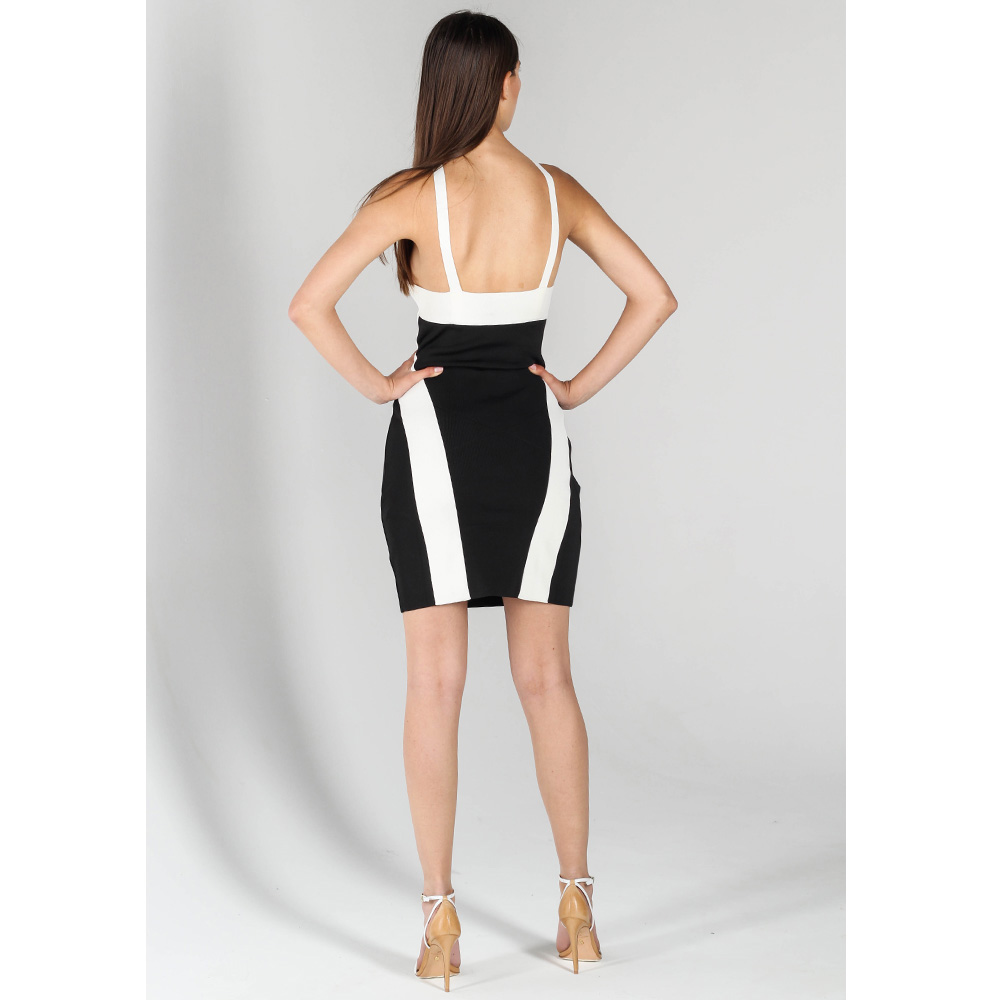 Платье-футляр John Richmond черное с белым верхом