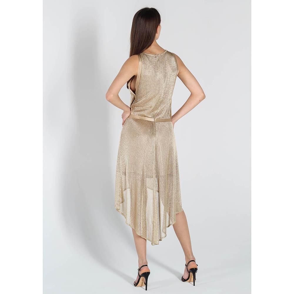 Коктейльное платье Zadig Voltaire золотистого цвета с юбкой-клеш