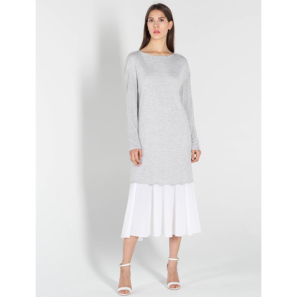 Серое платье-миди Vigio с белой шифоновой юбкой