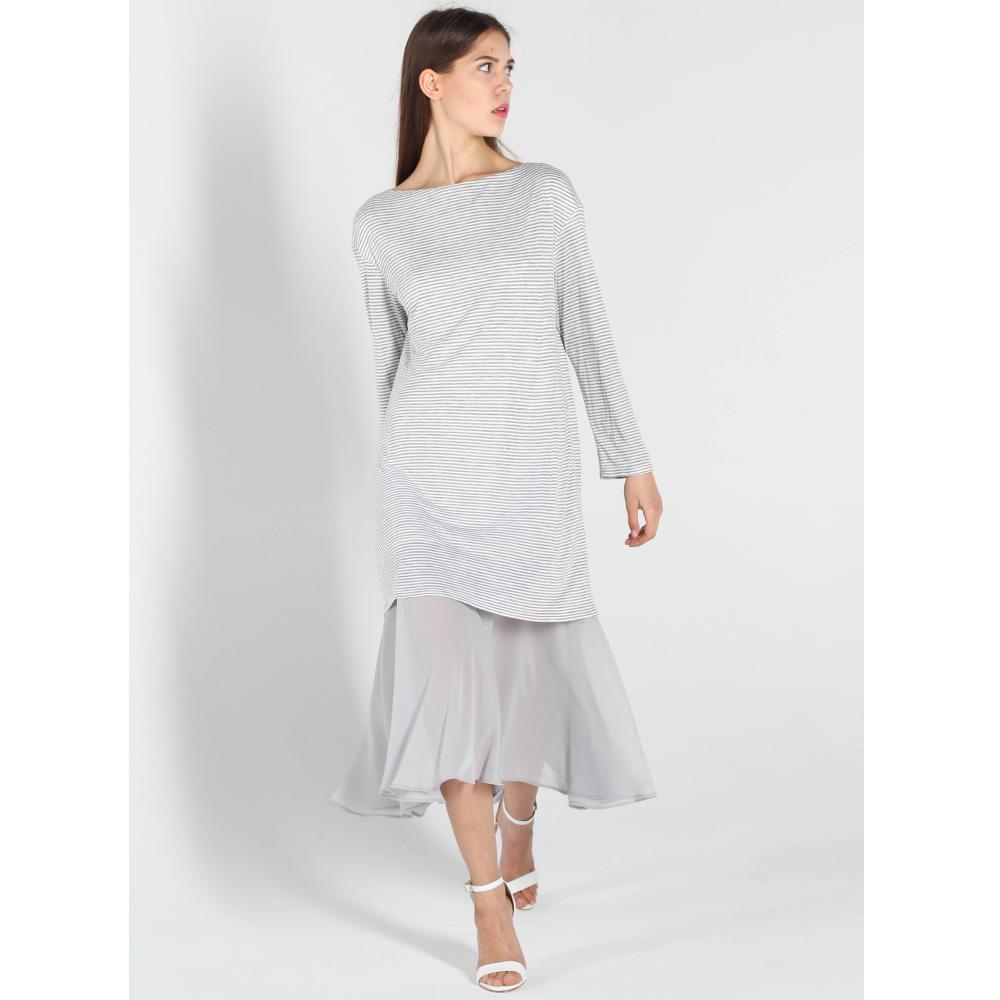 Платье-миди Vigio с серой шифоновой юбкой