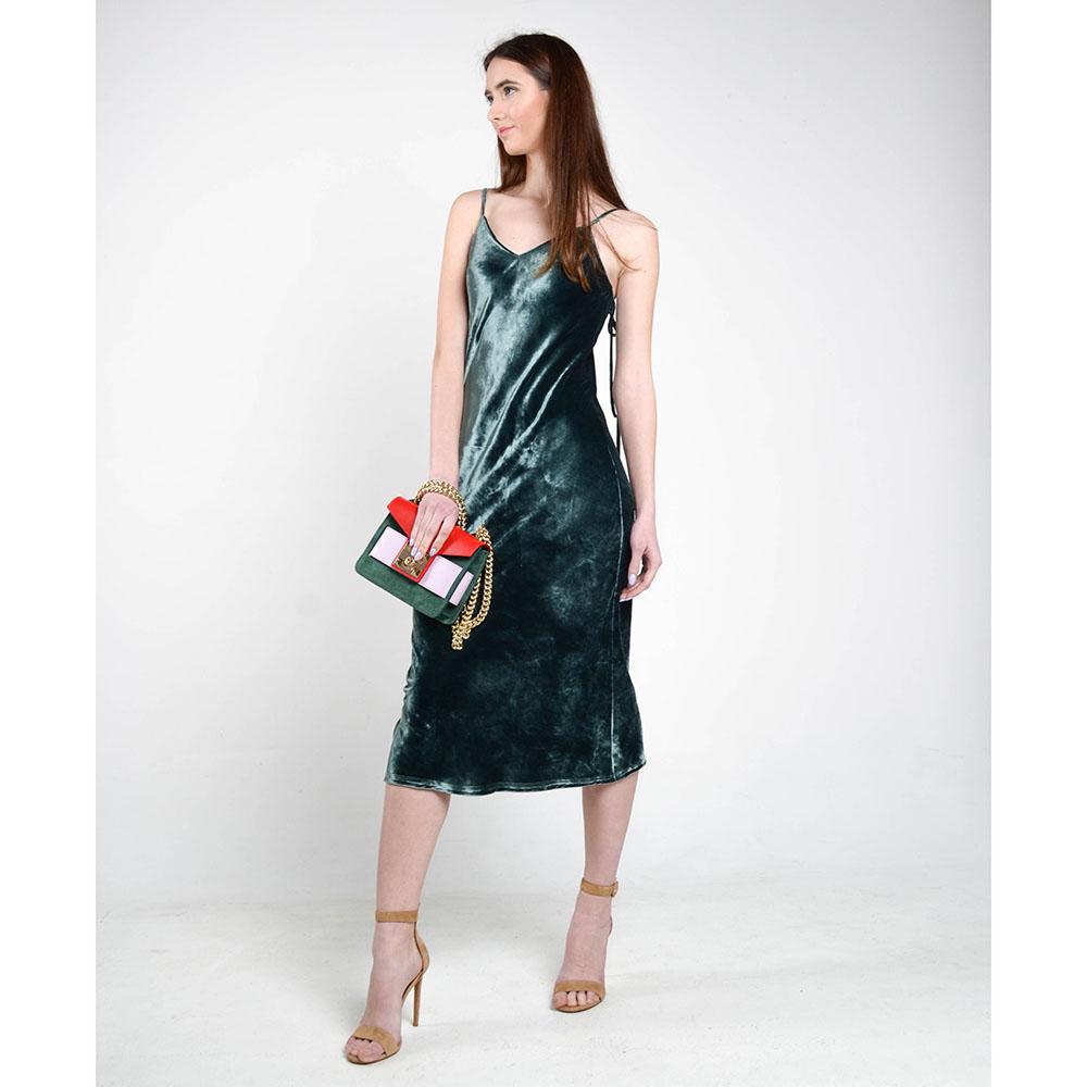 Бархатное платье The Body Wear зеленого цвета на бретельках-завязках