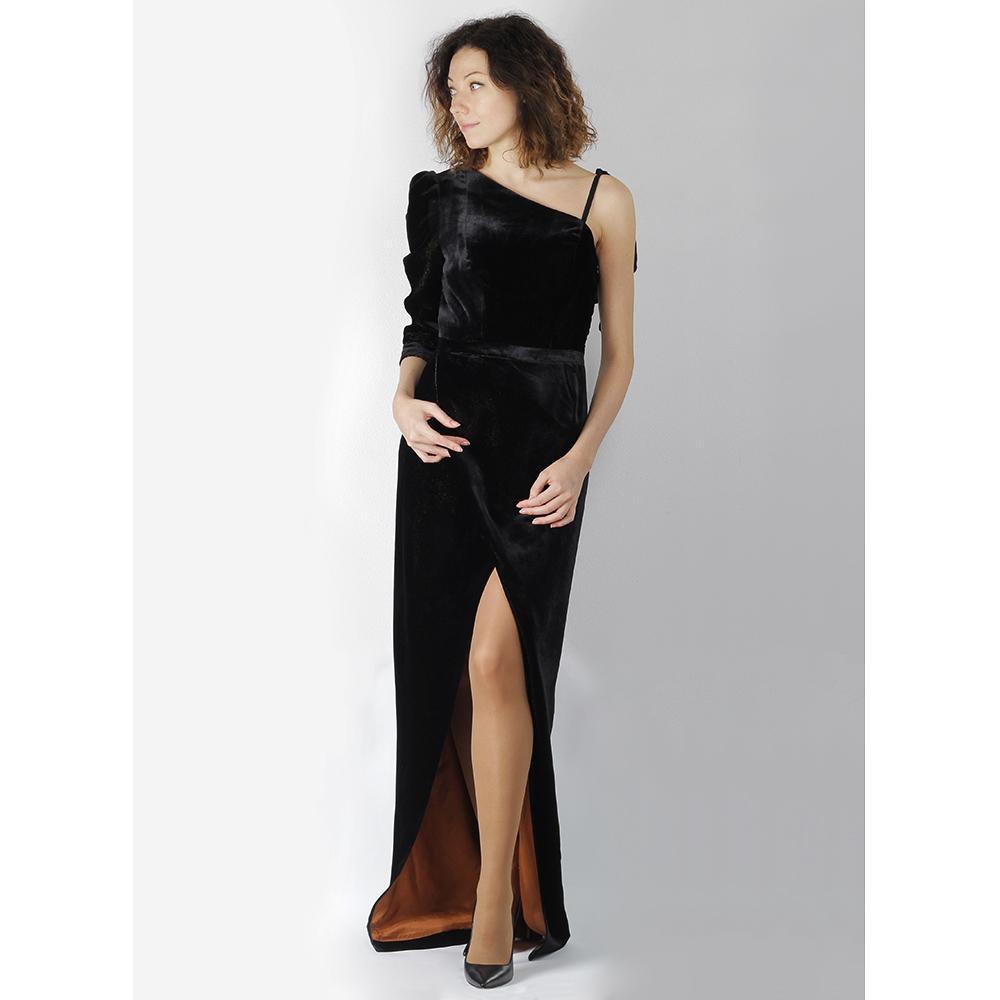 Черное бархатное платье The Body Wear с разрезом