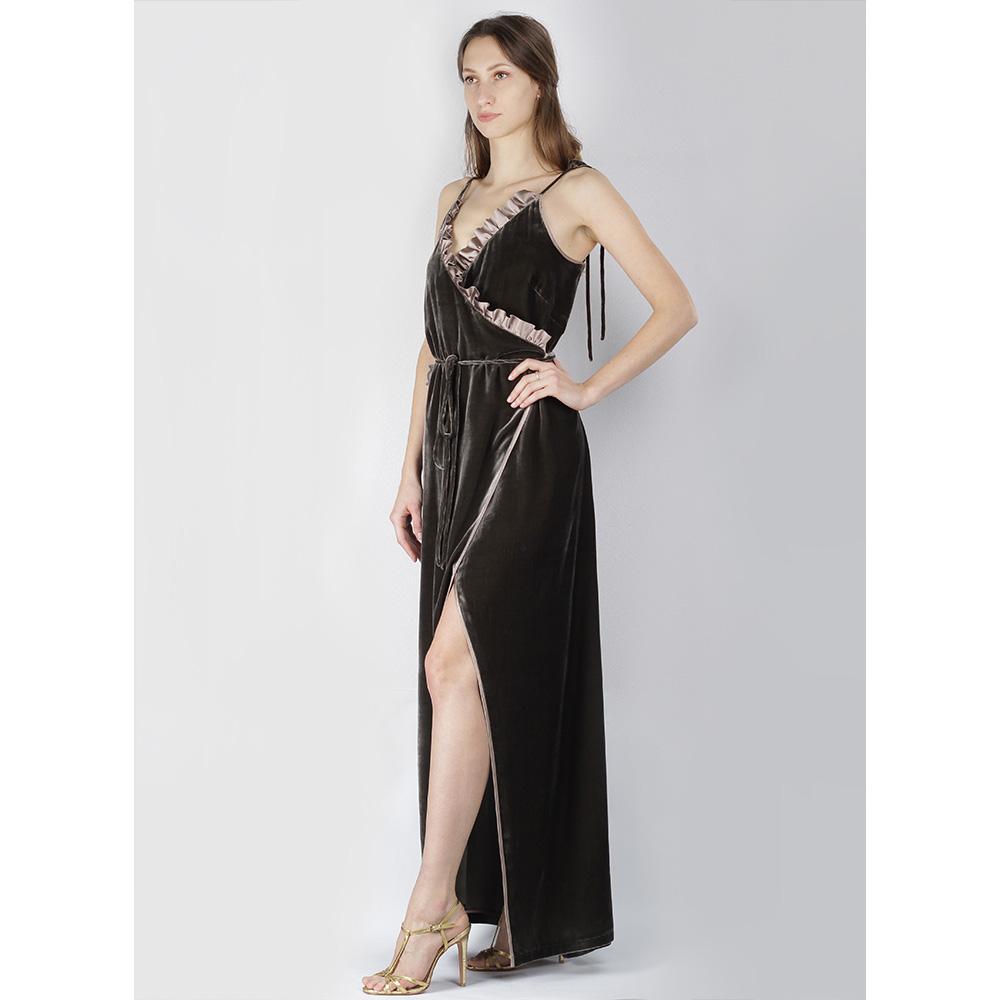 Серое платье The Body Wear из бархата на бретельках-завязках
