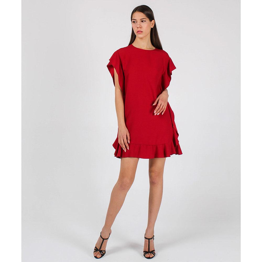 Коктейльное платье Red Valentino красного цвета с воланами