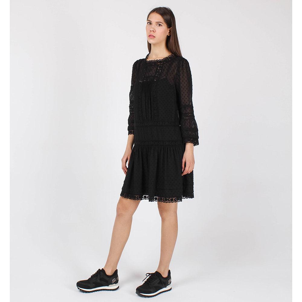 Платье-торсо Red Valentino черного цвета с отделкой-кружевом