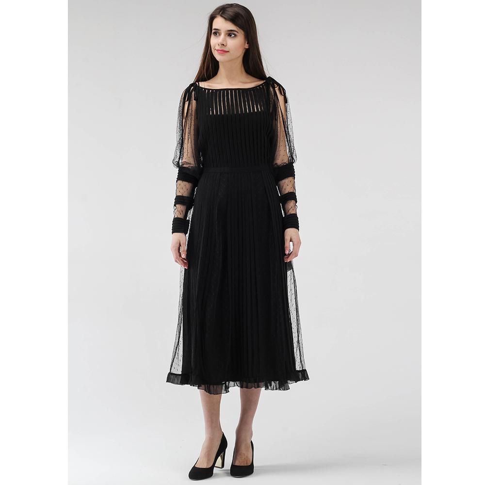 Черное платье-миди Red Valentino с прозрачными рукавами