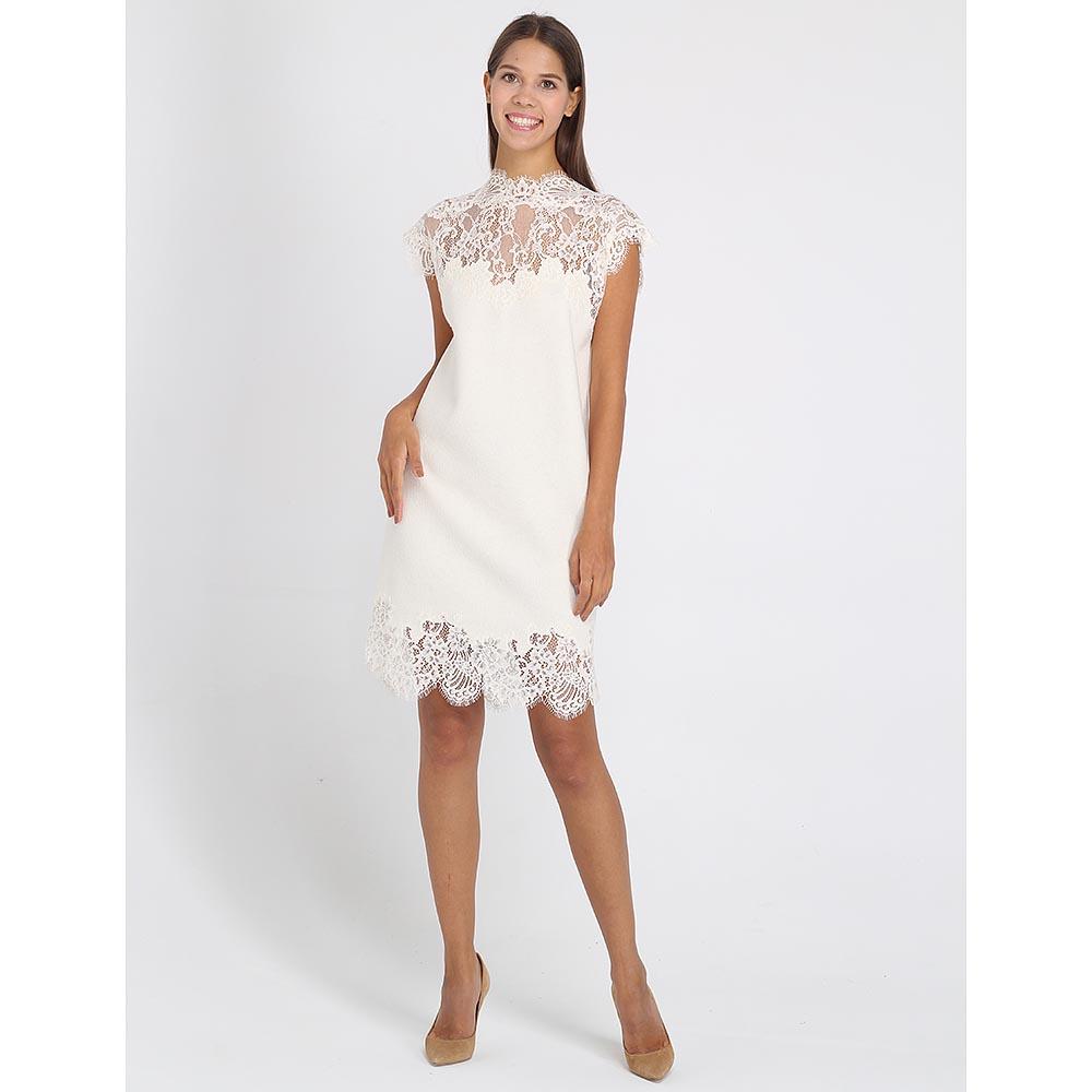 Платье Ermanno Scervino из тонкой шерсти с кружевными вставками