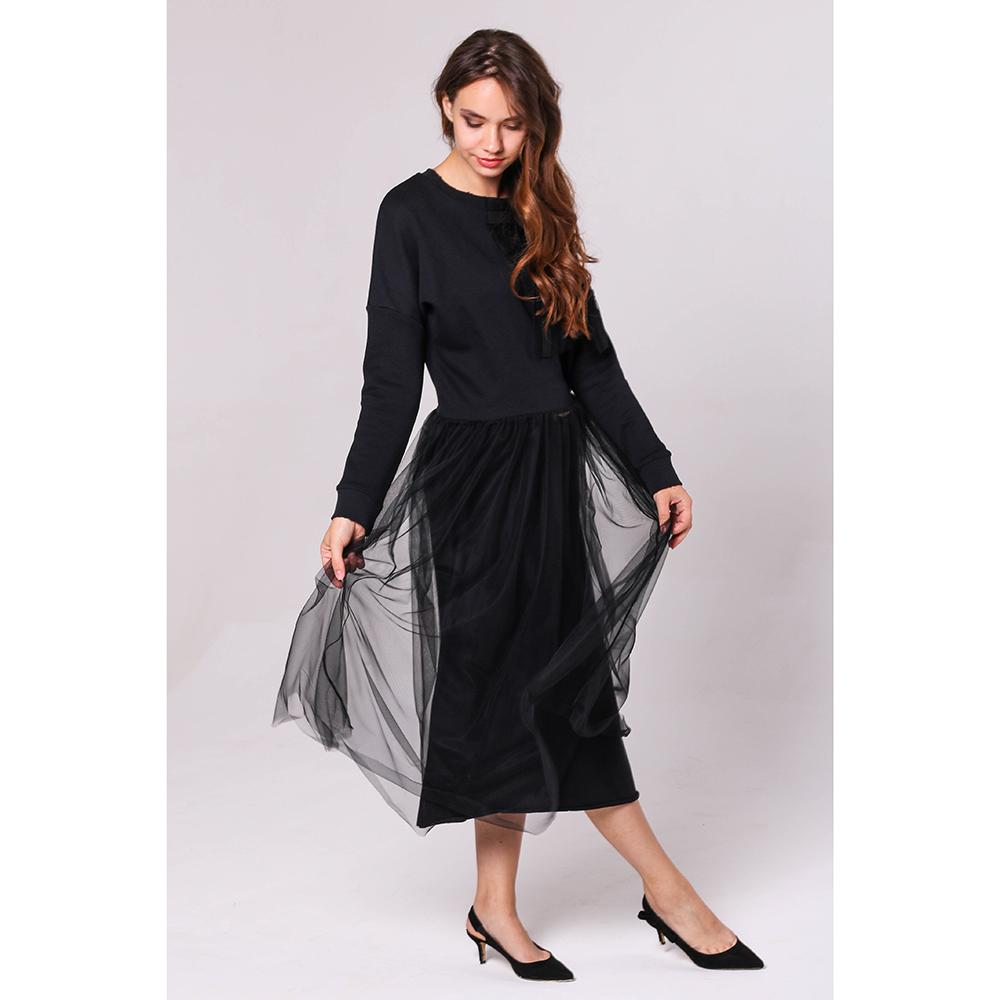 Платье миди Red Valentino черного цвета с юбкой из фатина