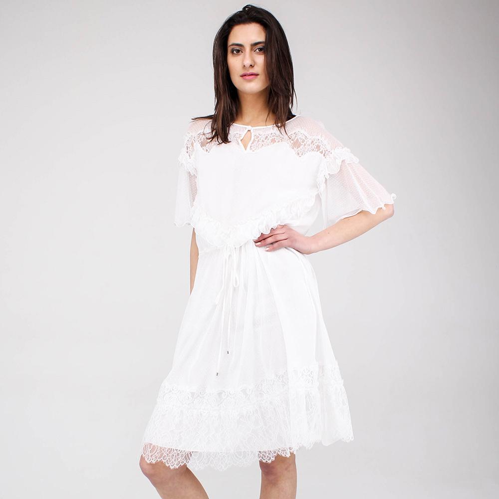 Легкое платье Blumarine белого цвета с кружевом