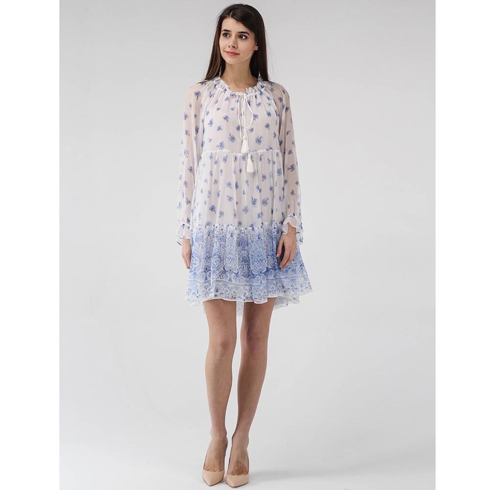 Короткое платье Ermanno Scervino белое с голубым принтом