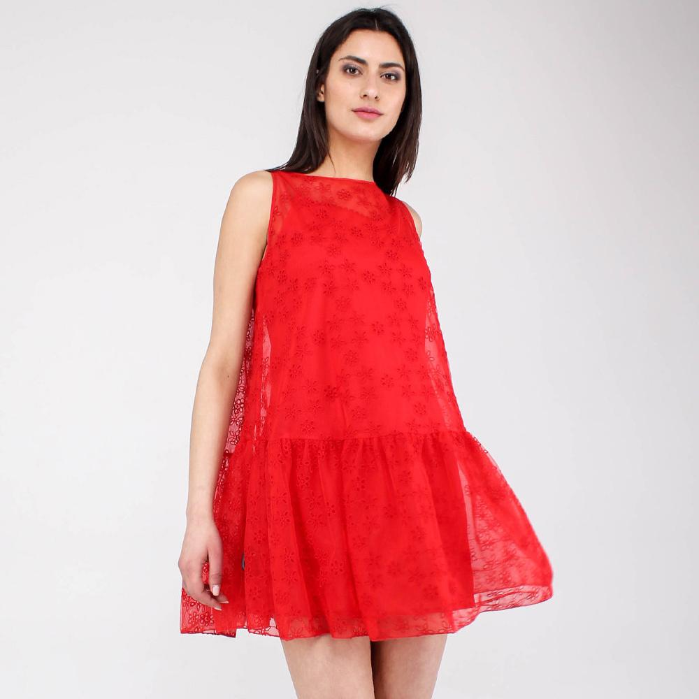 Короткое платье Ermanno Scervino красного цвета