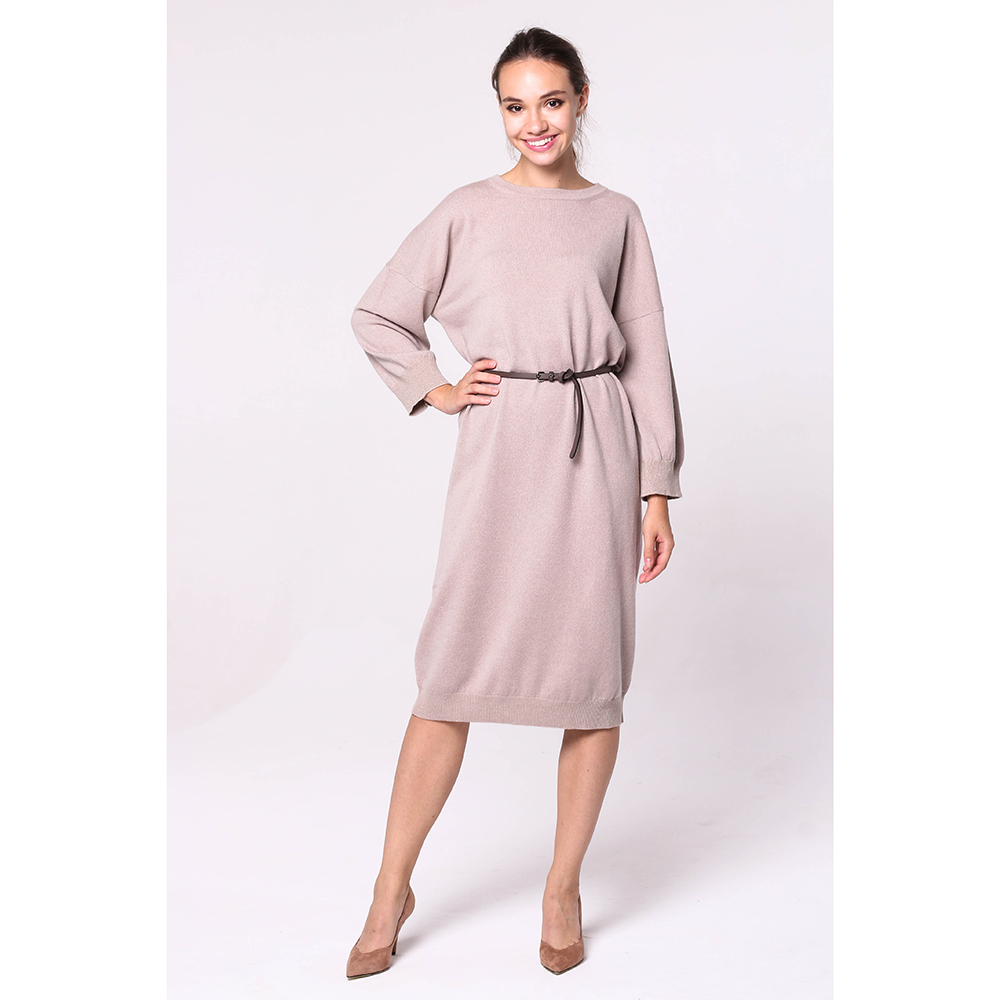 Повседневное платье Peserico бежевого цвета с длинными рукавами