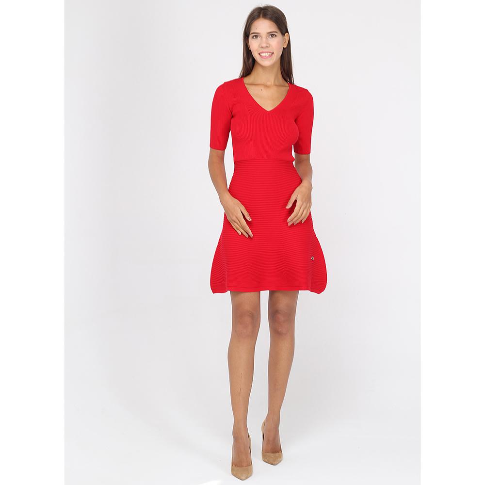 Платье Philipp Plein красного цвета с расклешенной юбкой