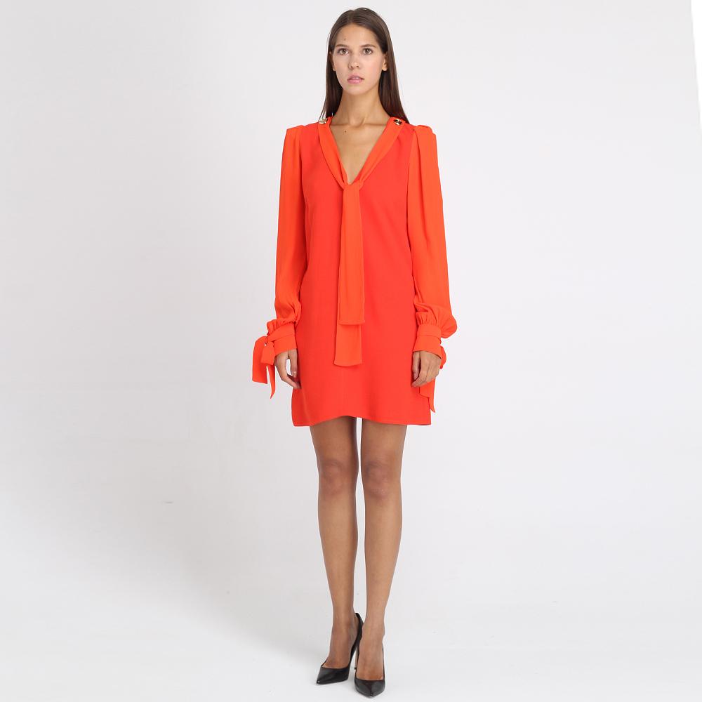 Платье с глубоким вырезом Elisabetta Franchi красного цвета