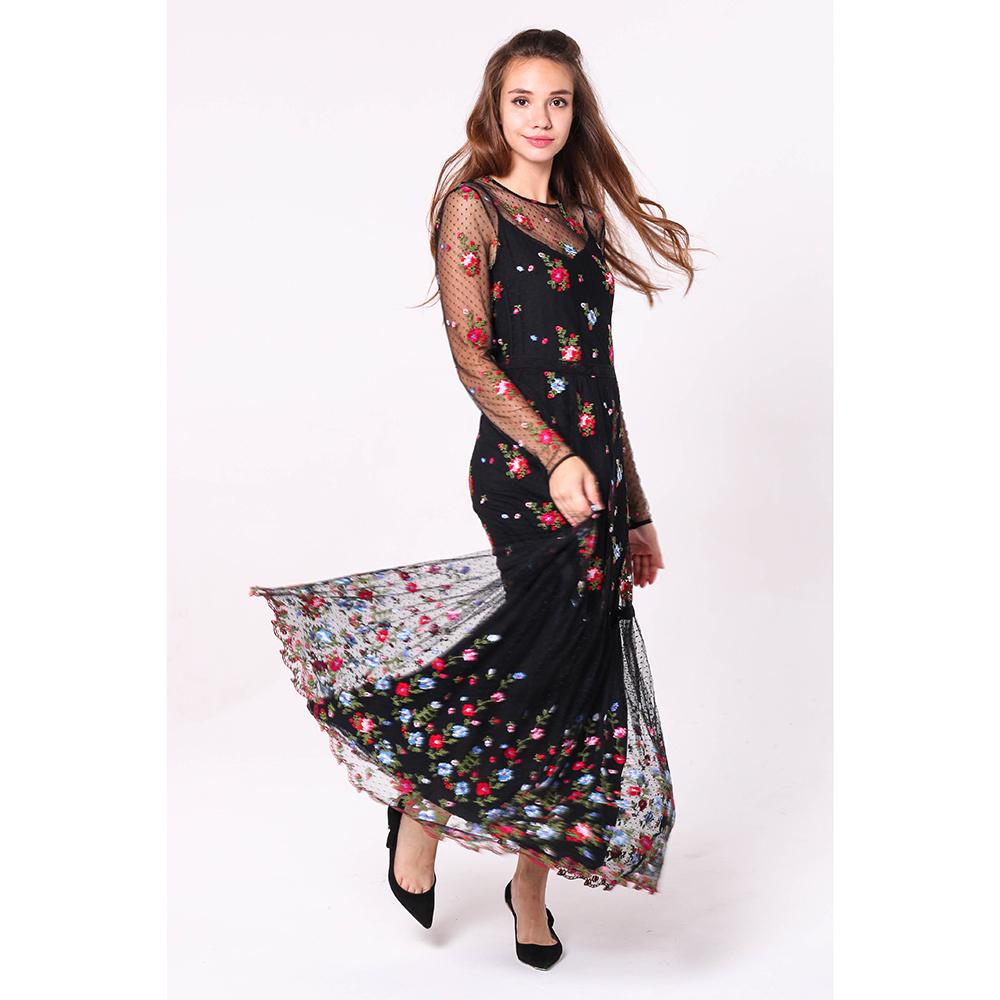 Длинное платье Ermanno Scervino черного цвета с вышивкой