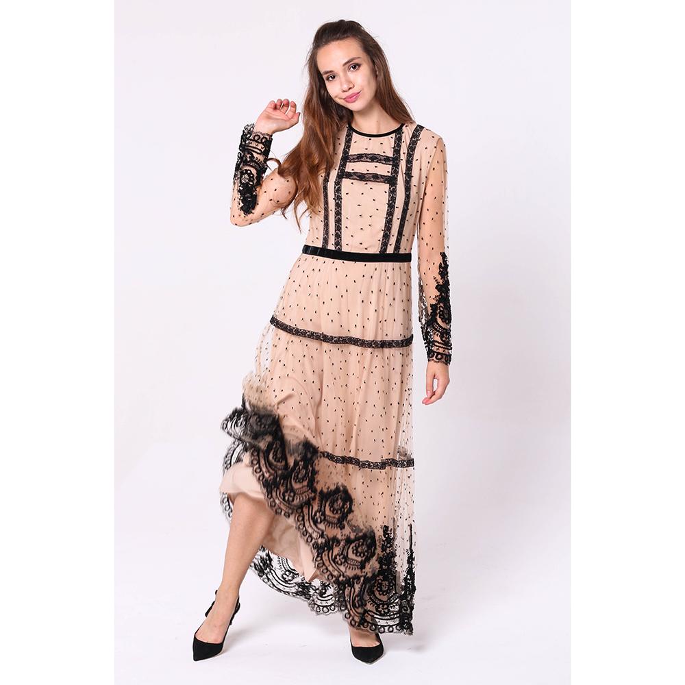 Длинное платье Ermanno Scervino с кружевом черного цвета