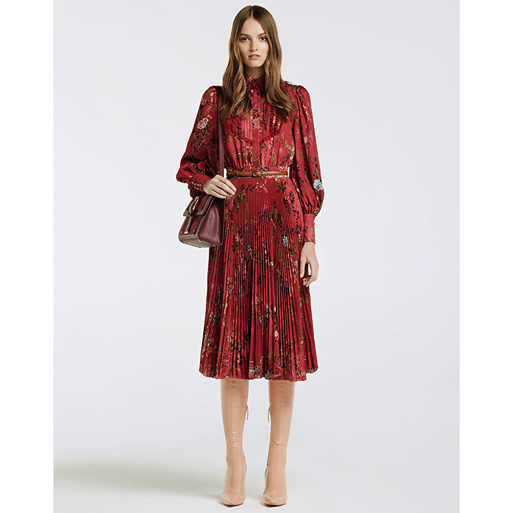 Платье-миди Elisabetta Franchi красного цвета с цветочным принтом