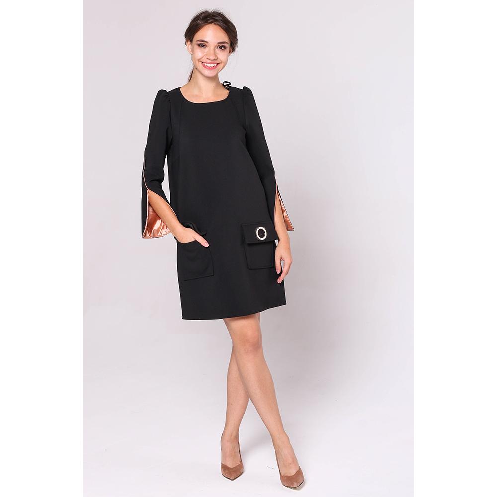 Черное платье Elisabetta Franchi с расклешенными рукавами
