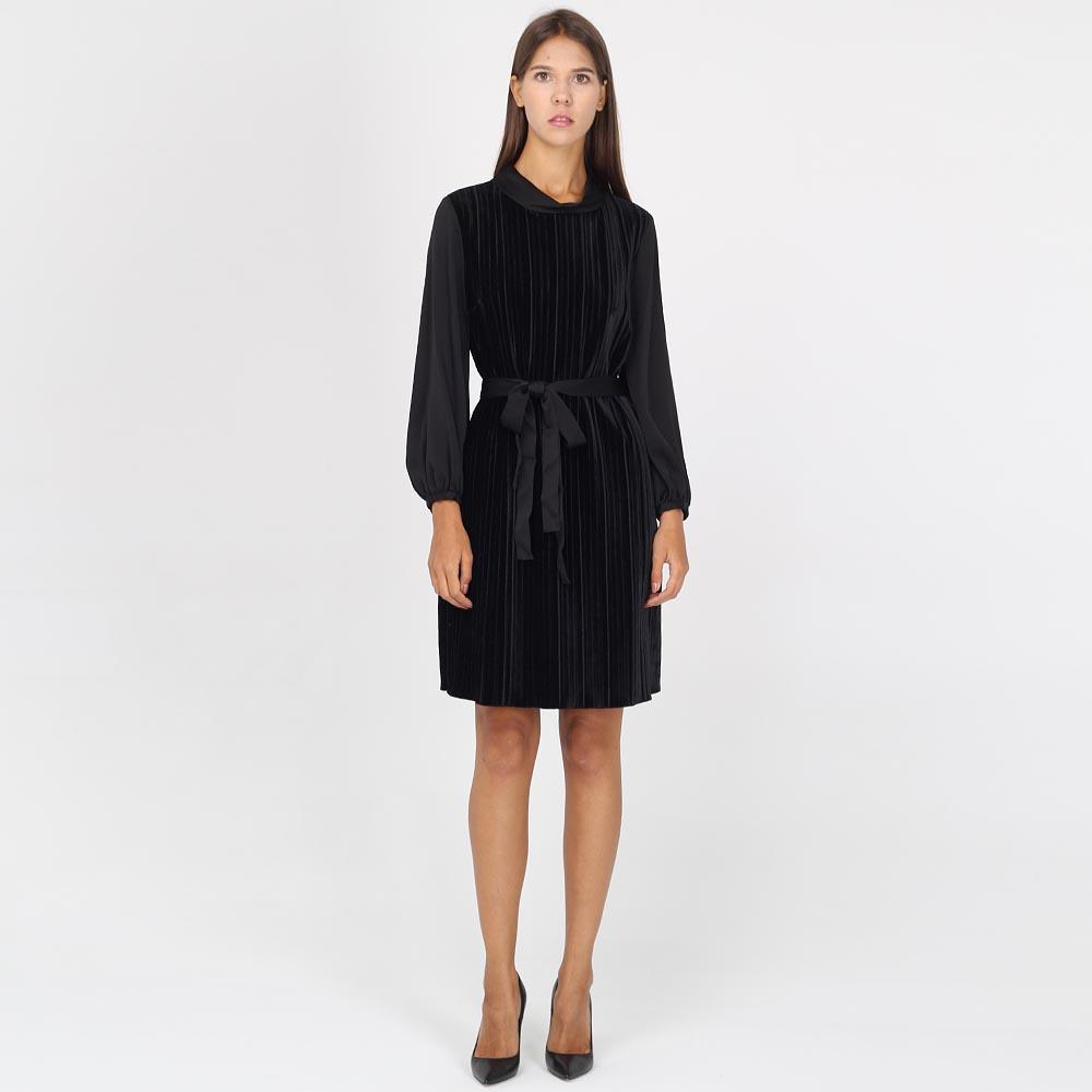 Платье Armani Jeans из велюра черного цвета с поясом