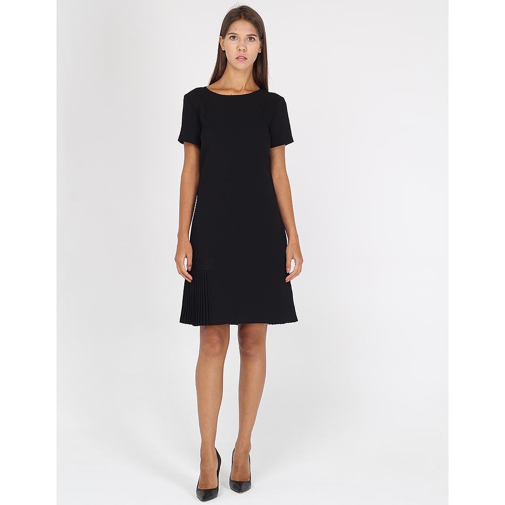 Черное платье Armani Jeans а-силуэта с плиссированными вставками