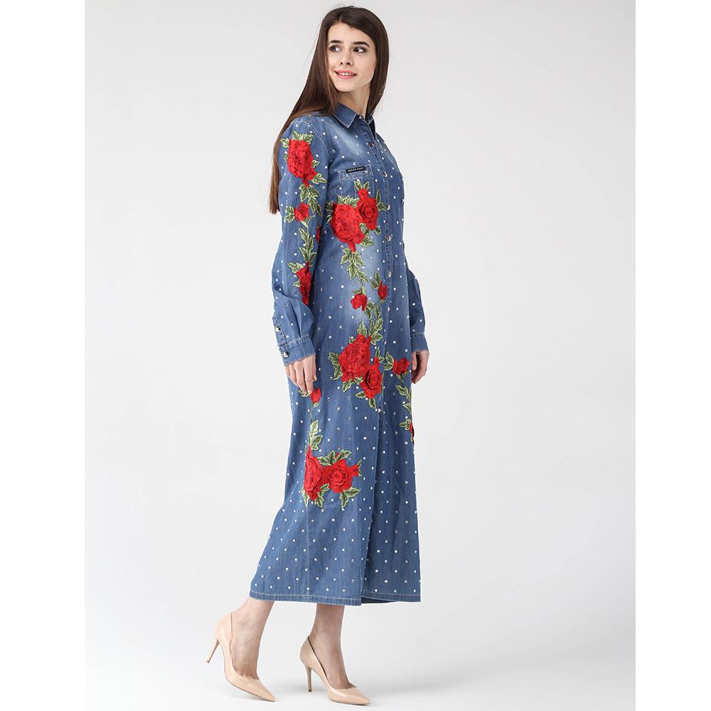 Длинное платье-рубашка Philipp Plein синего цвета с цветочной аппликацией