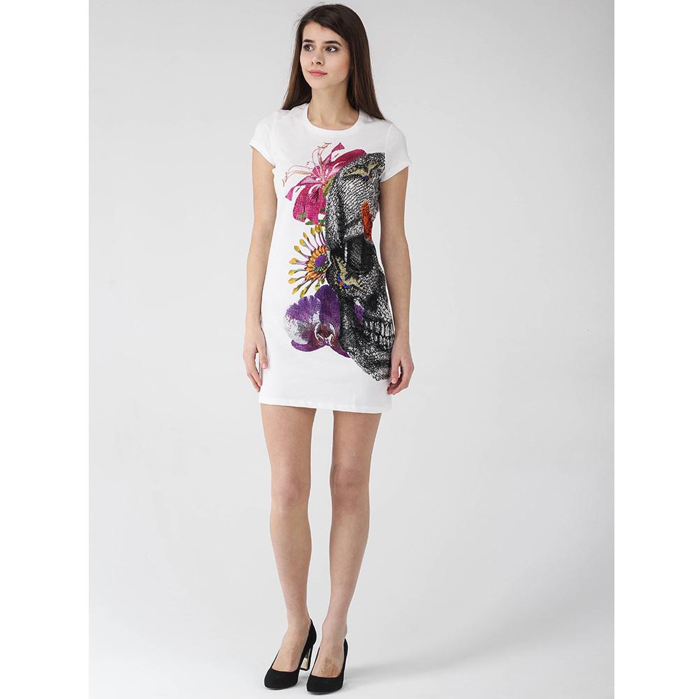 Платье-футболка Philipp Plein белого цвета с разноцветным принтом сбоку