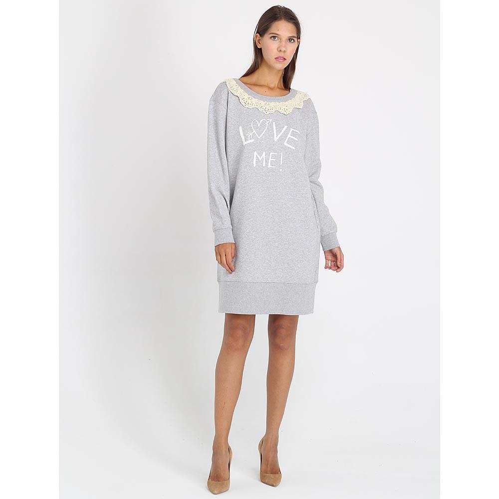 Платье-туника Love Moschino серого цвета с кружевом