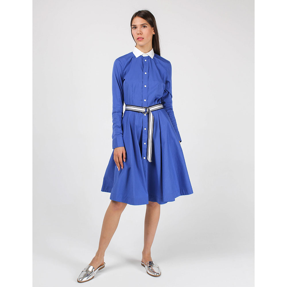Синее платье-рубашка Polo Ralph Lauren с юбкой-клеш