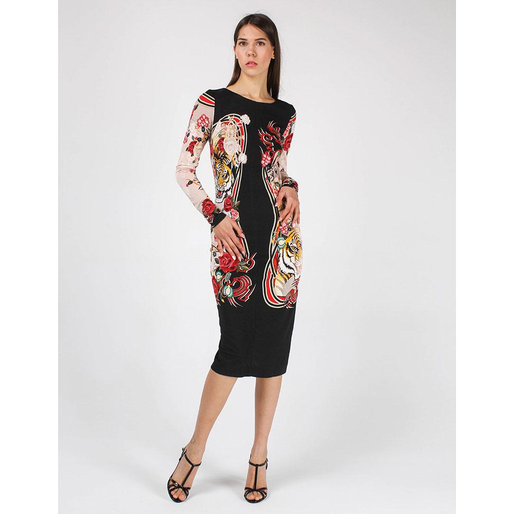 Облегающее платье-миди Cavalli Class с принтом-тиграми