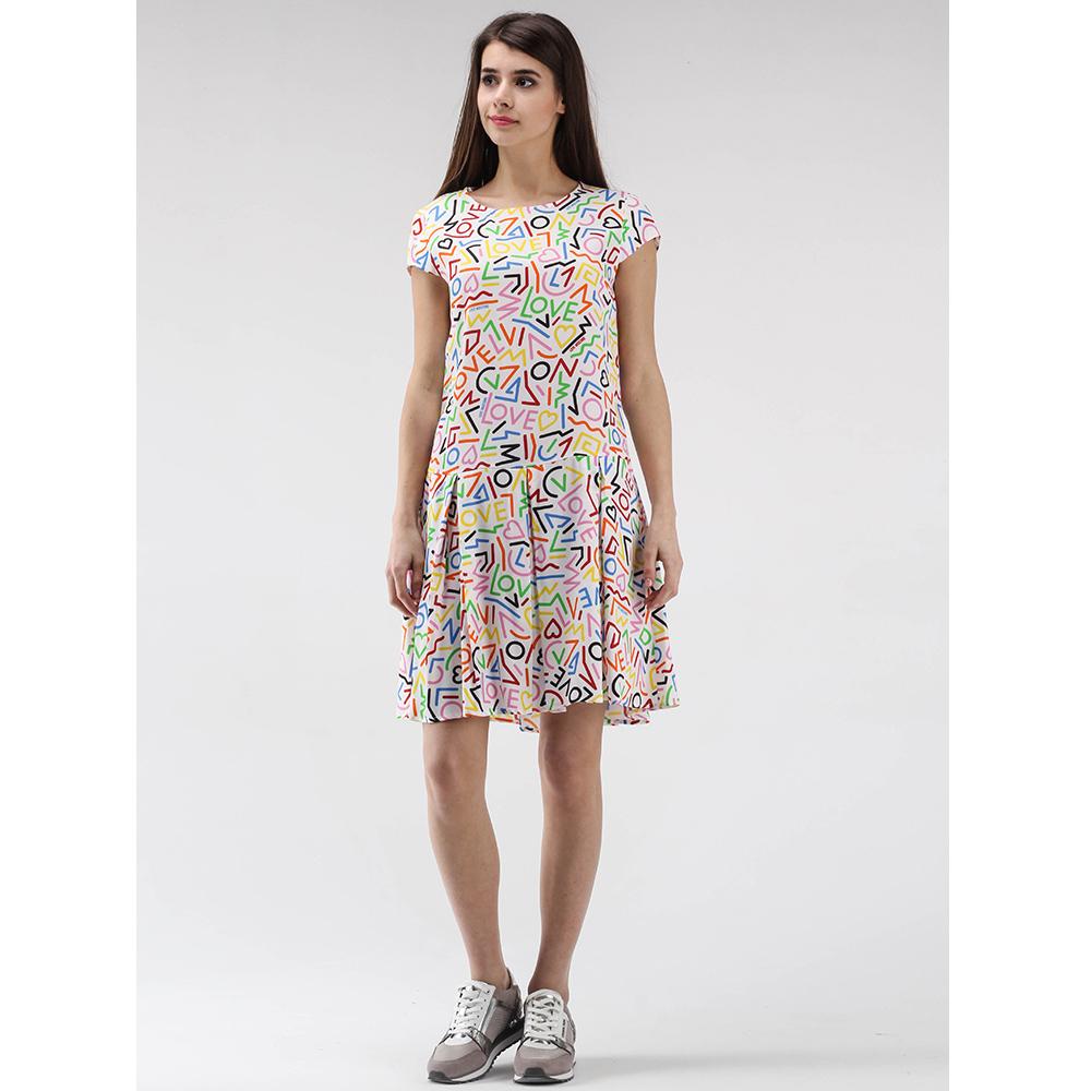 Разноцветное платье Love Moschino с юбкой-клеш