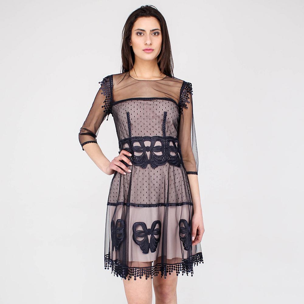 Платье Blumarine с прозрачными рукавами и кружевом