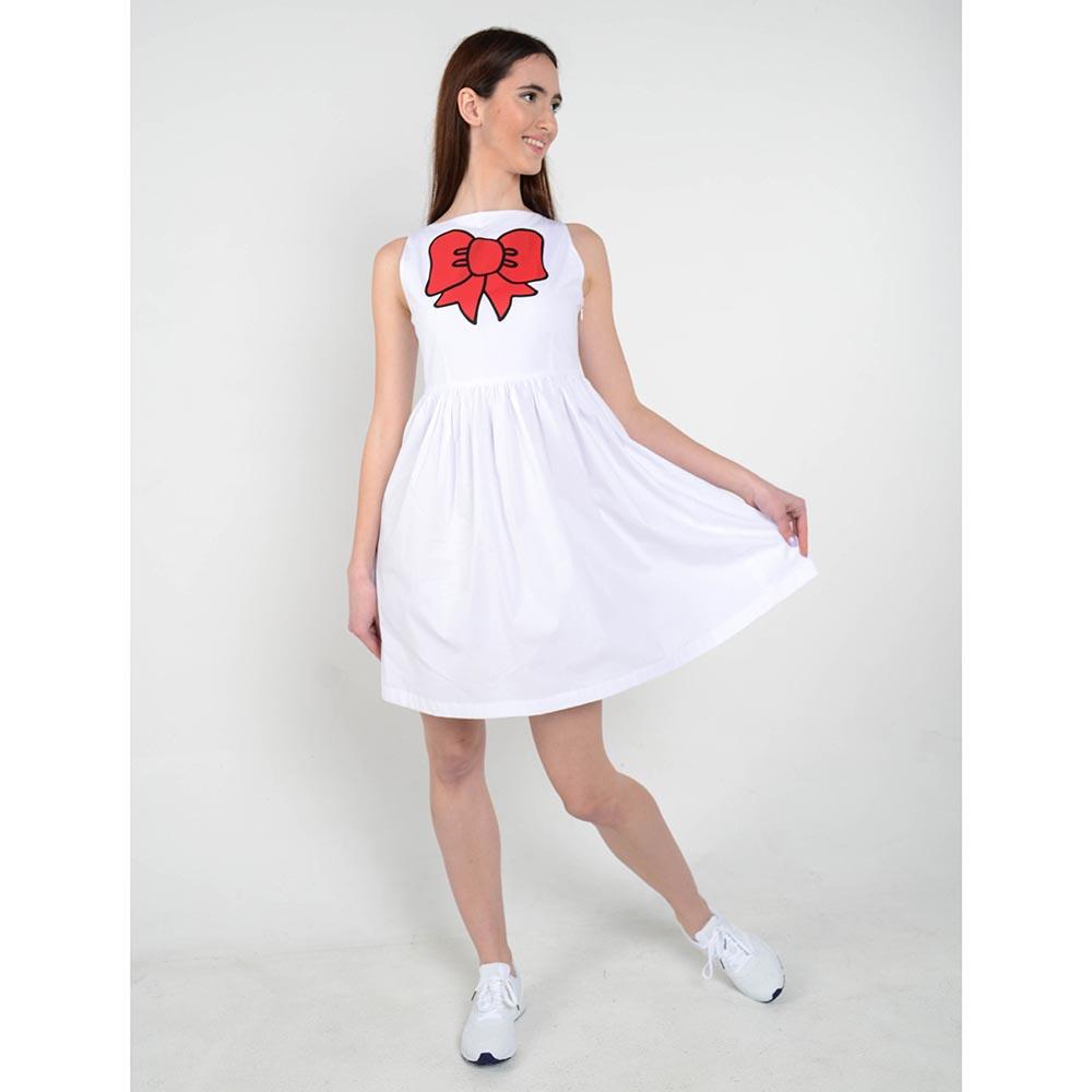 Белое платье Love Moschino с рисунком в виде банта