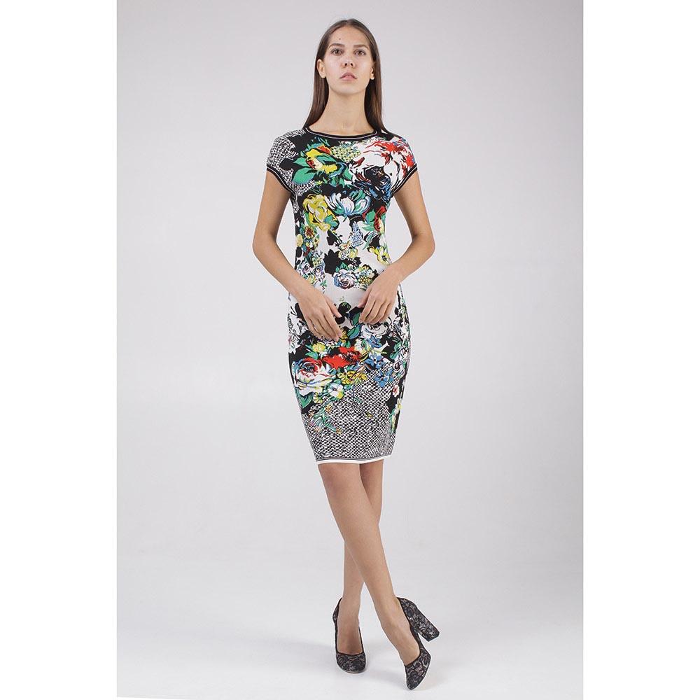 Черно-белое платье Roberto Cavalli с цветочным принтом