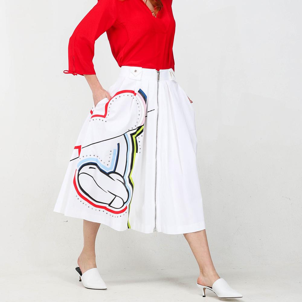 Белая юбка-миди Iceberg с декором-заклепками