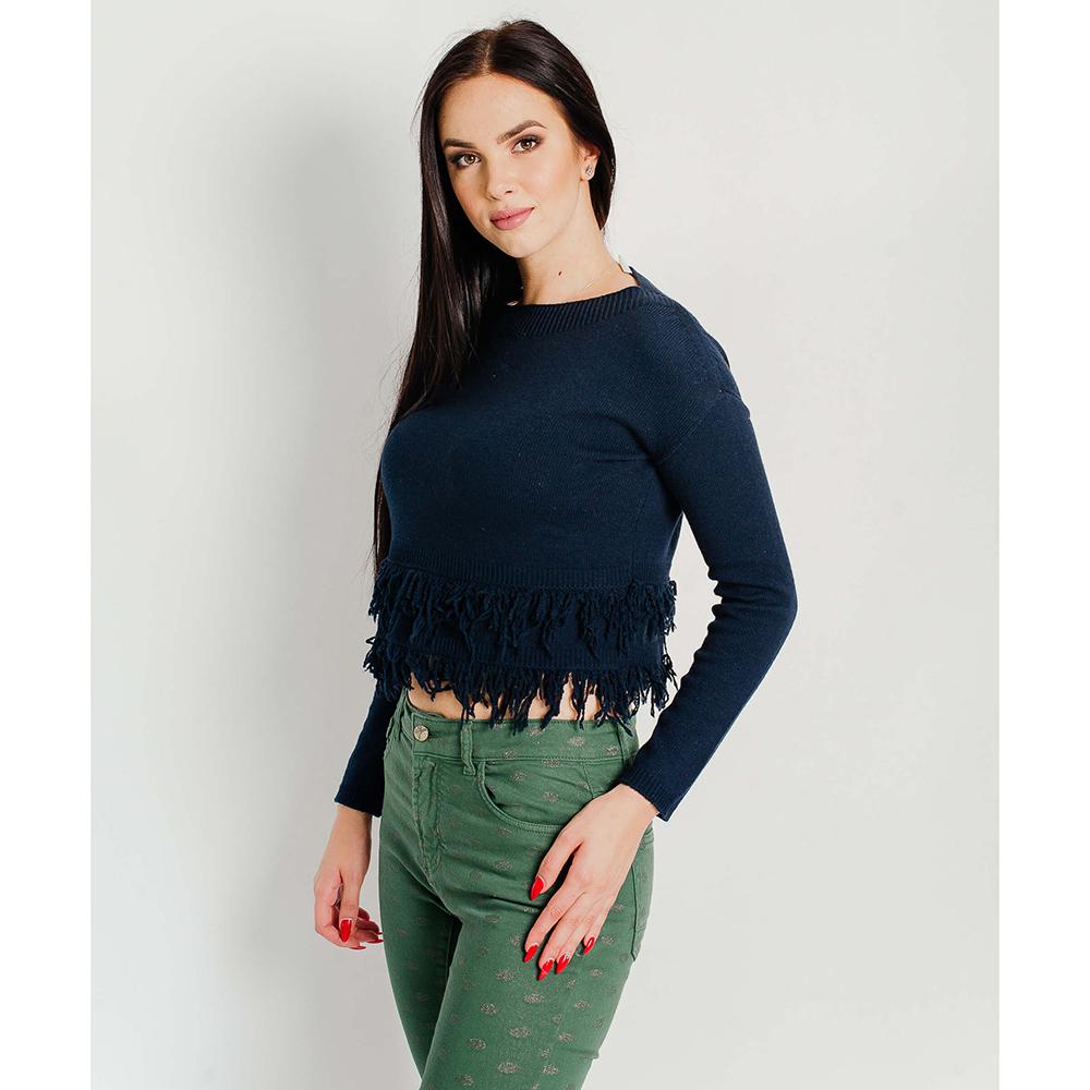 Короткий пуловер Vanise синего цвета с бахромой