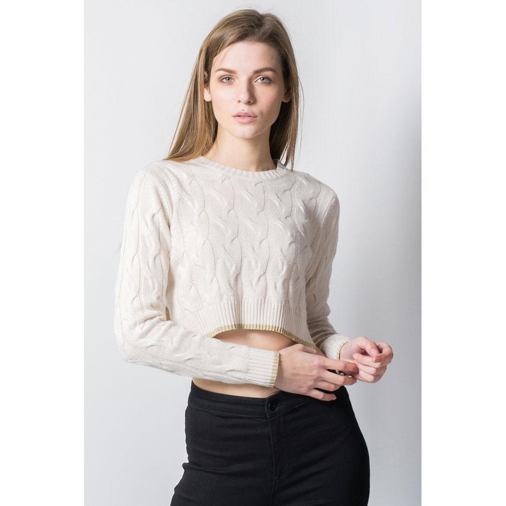 Укороченый свитер Tensione in с плетением-косы