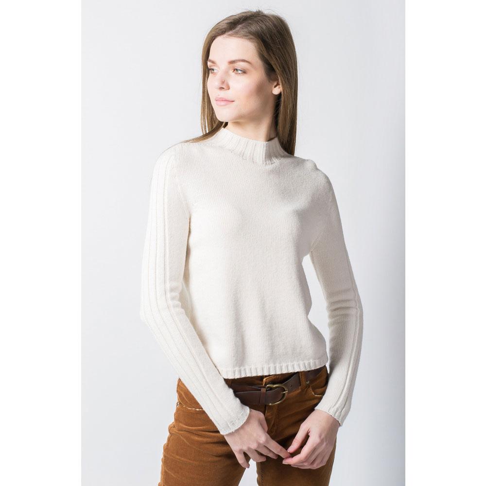 Пуловер молочный Tensione in с фактурными полосками