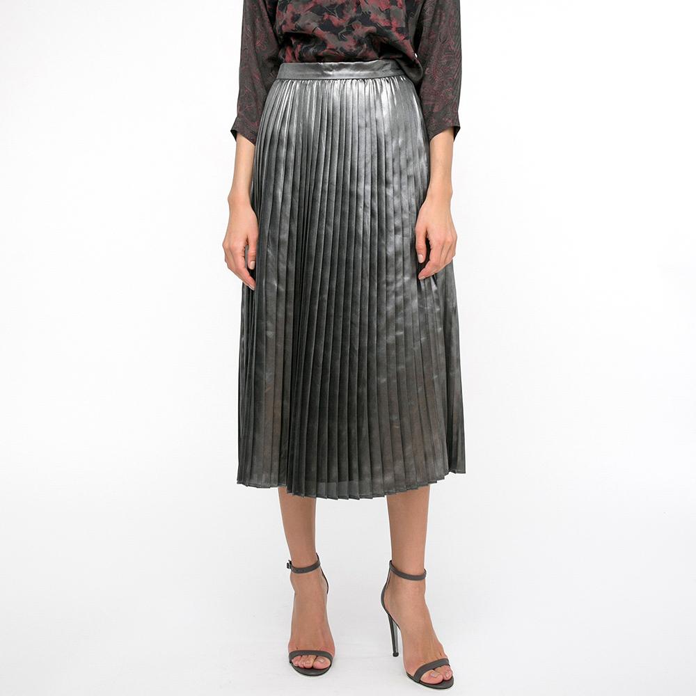 Юбка-миди Shako серого цвета с металлическим отливом