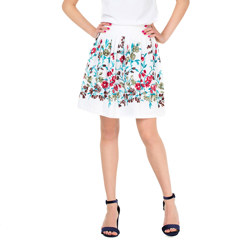Белая льняная юбка WeAnnaBe с флористической вышивкой