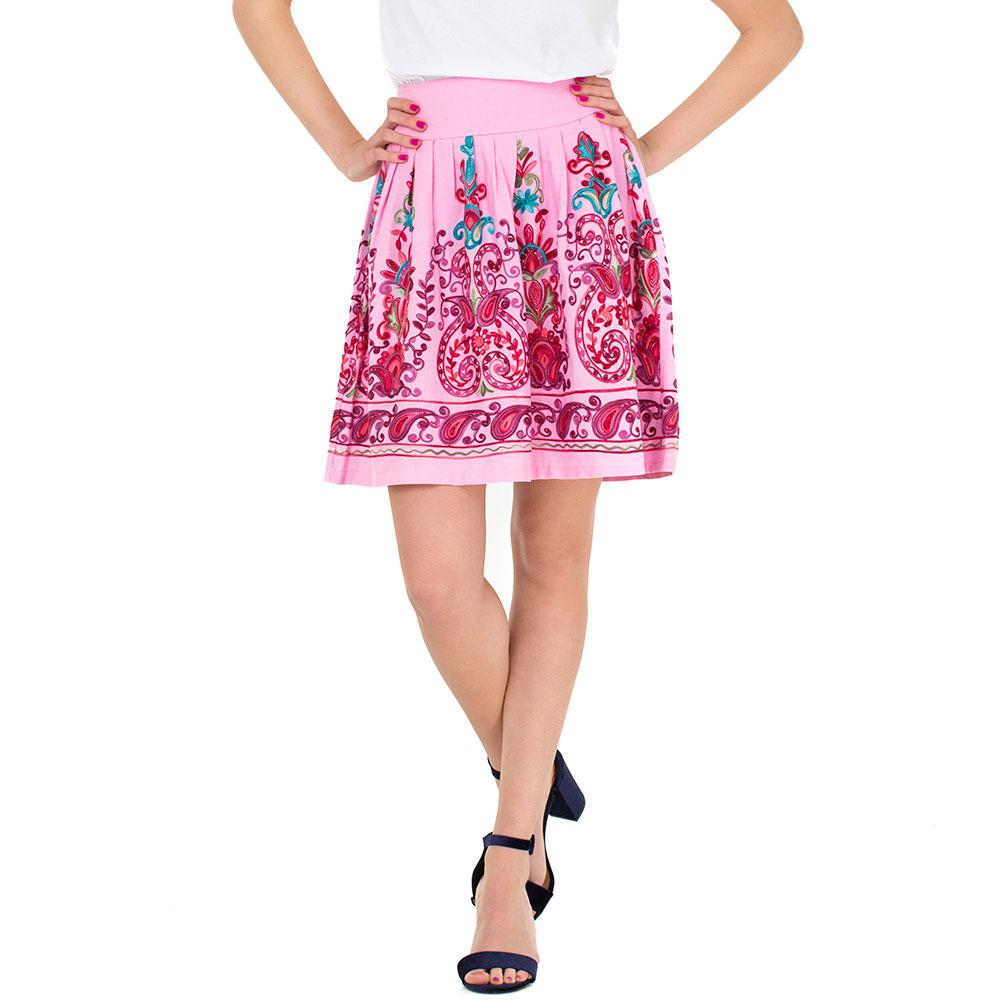 Розовая льняная юбка WeAnnaBe с вышивкой