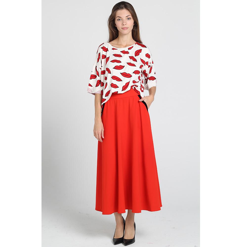 Красная длинная юбка Kristina Mamedova с черным поясом
