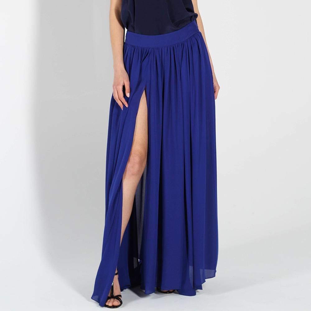 Шелковая юбка в пол Balmain синего цвета с высоким разрезом