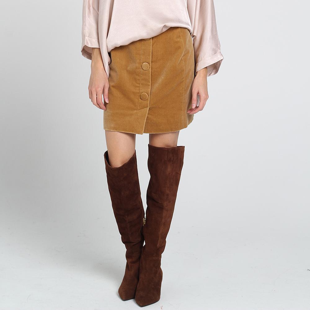 Велюровая юбка Kristina Mamedova на пуговицах коричневого цвета